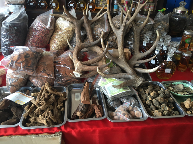 Wild animal products being sold in a market in China