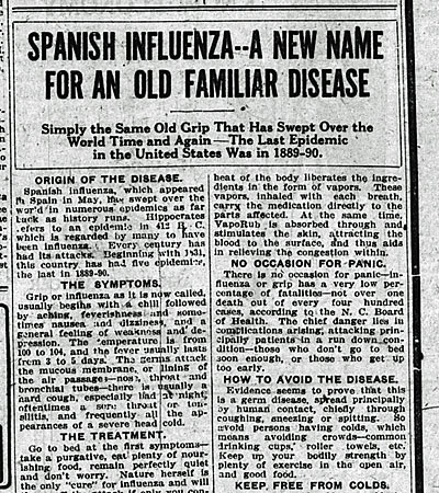 This newspaper article from 1918 falsely touts the 1918 pandemic strain as just another seasonal flu
